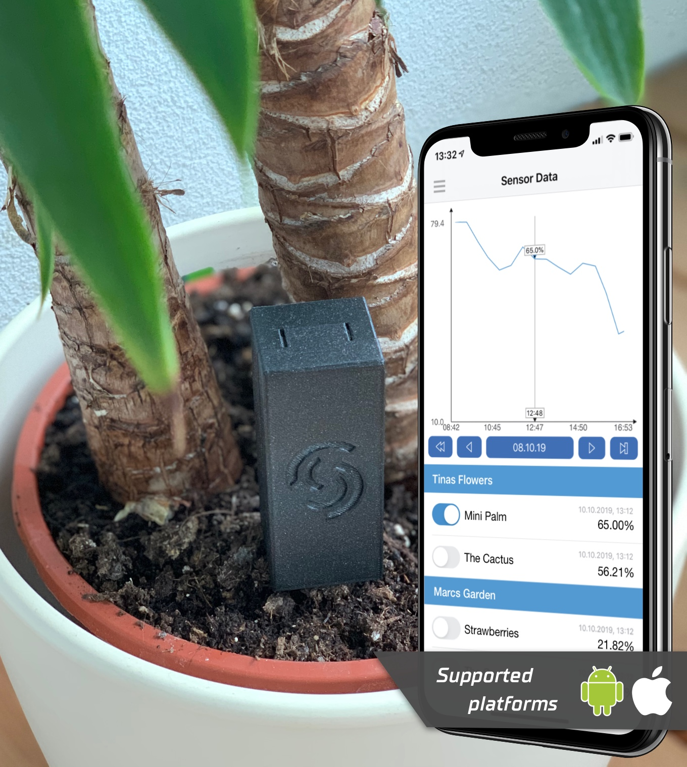 Wifi plant sensor flower sensor watering reminder to build yourself (DIY) with iOS and Android App for ESP12f ESP12e ESP12e ESP12s ESP8266
