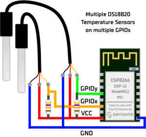 How to connect multiple DS18B20 Sensor with multiple single GPIO ESP8266 NodeMCU ESP-12