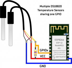 How to connect multiple DS18B20 Sensor with one single GPIO ESP8266 NodeMCU ESP-12