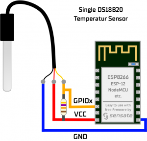 How to connect a DS18B20 Sensor with ESP8266 NodeMCU ESP-12