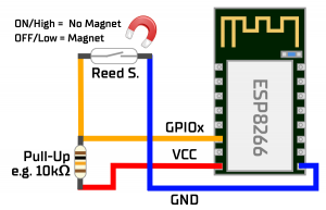Correct connection reed contact with ESP8266 with pull-up resistor