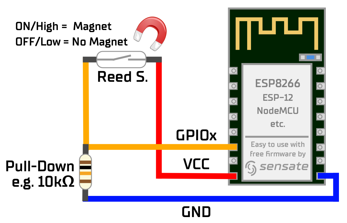 Correct connection reed contact with ESP8266 with pull-down resistor